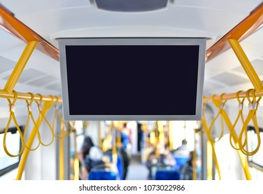 tv monitor of inside advertising in city public transport