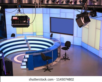 TV NEWS studio with light equipment ready for recordind release