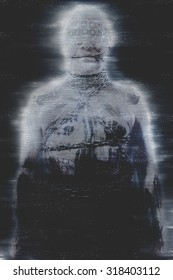 Tv noise, concept bdsm, slave and master, naked man