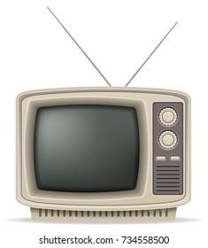 tv old retro vintage icon stock illustration isolated on white background