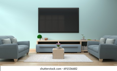 TV on the blue wall in modern living room have sofa in room,3d rendering