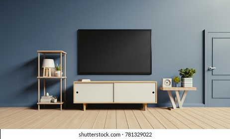 Tv on cabinet in modern empty room have lamp,flower,book and other on floor wooden, 3d rendering