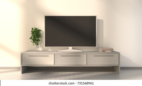 Tv on a console with an evening light. 3D rendering