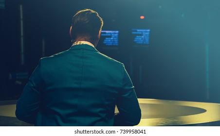 TV presenter preparing to live streaming video