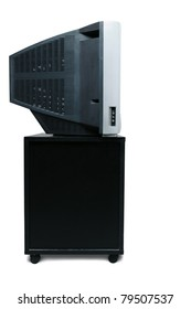 TV receiver with crt screen side view isolated over white background