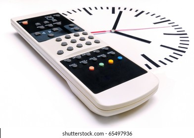TV Remote Control and clock on white background