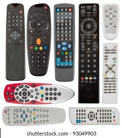TV remote control devices isolated on white background.
