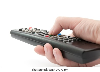 TV remote control in hand on white background