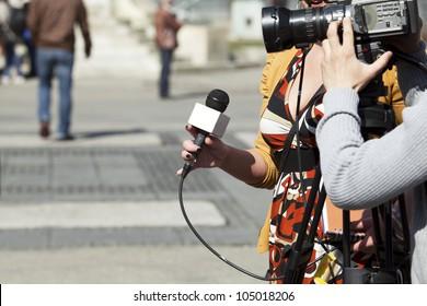 TV reporter interview