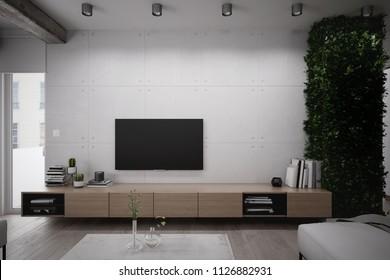 Tv shelf in the living room - 3 d render