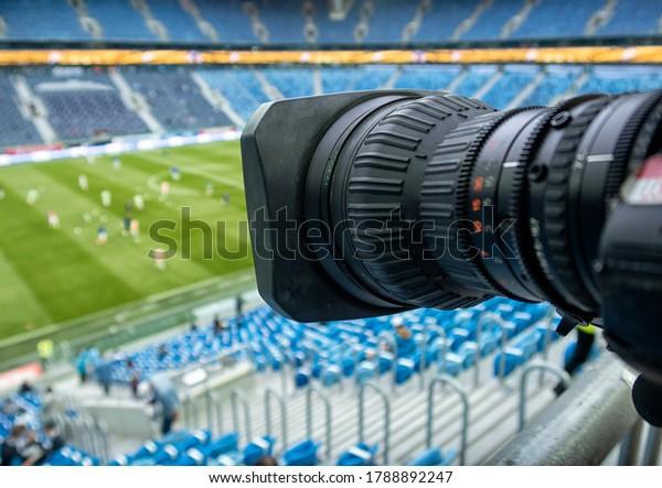TV en el fútbol. Cámara de partidos de fútbol.
