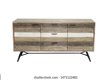 TV Stand isolated on white background. Contemporary style TV sideboard furniture isolated on white background