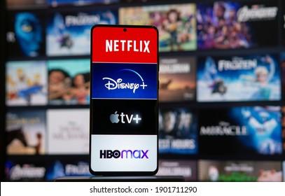 TV streaming logo, Netflix, disney plus, Amazon Prime, Hulu, HBO Mex, Apple TV Plus on Phone Bangkok, Thailand 24 January 2021