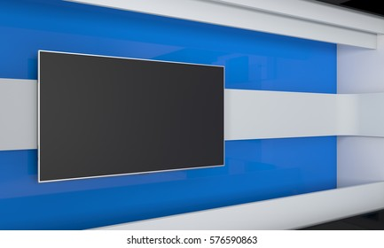 Tv Studio. Backdrop for TV shows .TV on wall. News studio. The perfect backdrop for any green screen or chroma key video or photo production. 3d render.