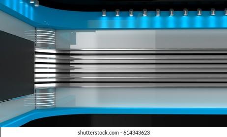 Tv Studio. Blue studio..TV on wall. News studio. 3D rendering.