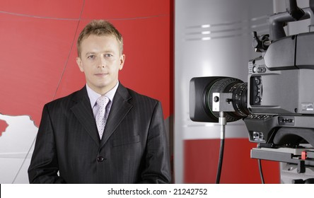 TV studio with video camera and presenter
