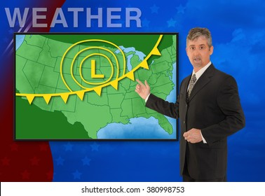 A tv television news weather meteorologist anchorman is reporting with a colorful background and weather graphics on the monitor screen.