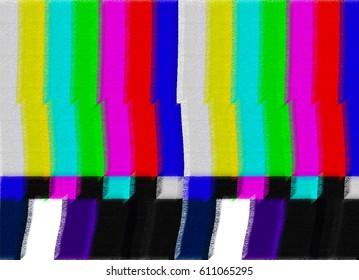 TV test kort med regnbue barer, geometriske signaler. Retro hardware 1980. Glitch kunst viser statisk fejl, brudt transmission. Minimal pop art print er velegnet til et tekstil, vægge, gulve.
