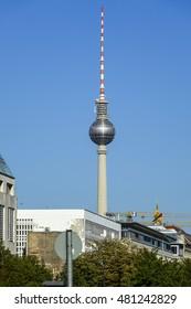 TV Tower at Berlin Alexanderplatz - called Fernsehturm - BERLIN / GERMANY - AUGUST  31, 2016