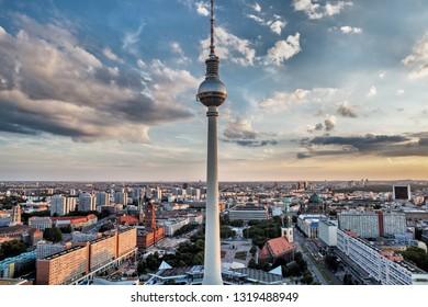Tv tower in Berlin on Alexanderplatz, Germany