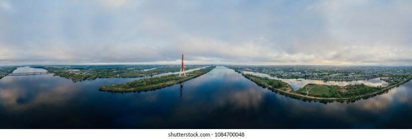 TV tower Sphere Planet. Bridge and houses in Riga city, Latvia 360 VR Drone picture for Virtual reality, Panorama