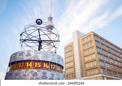 Tv tower and world clock at Alexanderplatz train station, Berlin, Germany