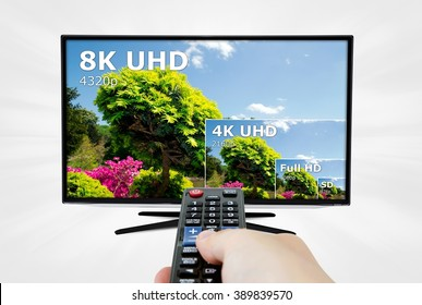TV ultra HD. 8K 4320p television resolution technology