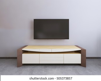 TV unit in a contemporary living room. 3D render.