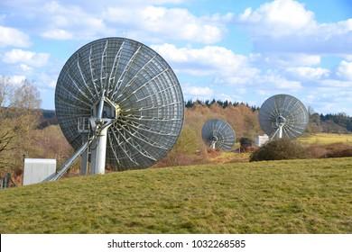 TV uplink satellite in a field in England