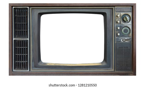 TV vintage frame isolated on white background. This has clipping path.
