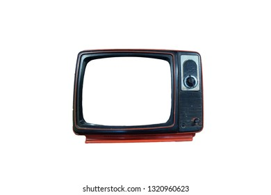 tv vintage frame, old tv red color, isolate on white background