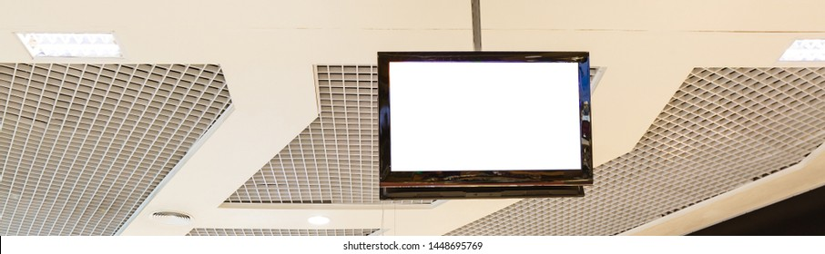 tv white screen hanging ceiling store