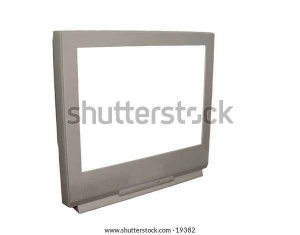 TV with white screen and isolated on white background