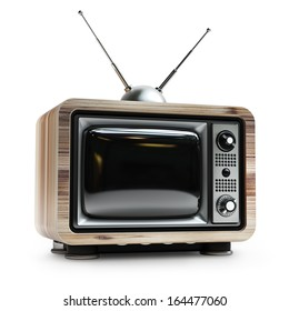 TV in wooden vintage case isolated on white background High resolution 3d