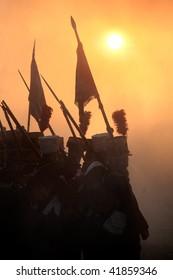 TVAROZNA, CZECH REPUBLIC - NOV 27: History fans in military costumes reenact the battle of Austerlitz, which won Napoleon on November 28, 2009 near the village of Tvarozna, Czech Repuplic.
