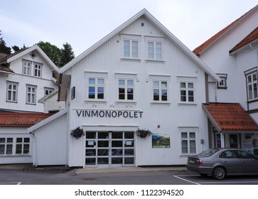 Tvedestrand, Norway. June 2018. Vinmonopolet (English: The Wine Monopoly), shortened to Polet, a government-owned alcoholic beverage retailer in Norway.