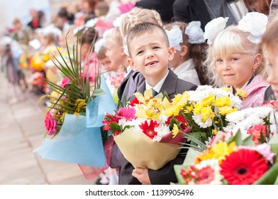 Tver city, Russia, 1 september 2013: children go to school for the first time.