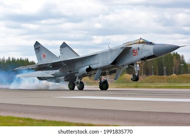 TVER REGION, RUSSIA, MAY 20, 2021: Russia air force supersonic interceptor MiG-31 landing