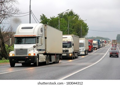 TVER REGION, RUSSIA - MAY 22, 2013: Traffic jam at the M10 federal highway connecting Moscow and Saint Petersburg.