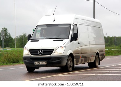 TVER REGION, RUSSIA - MAY 22, 2013: White Mercedes-Benz Sprinter cargo van at the interurban road.