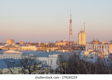 TVER, RUSSIA - APRIL 7, 2015: The building of the business center Tver and communication tower at sunset, view from above