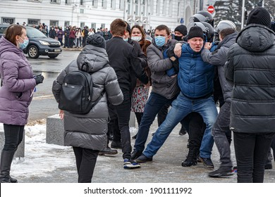 Tver, Russia - January 23, 2021: Arrest of protesters during a demonstration by residents of Tver in support of Navalny.