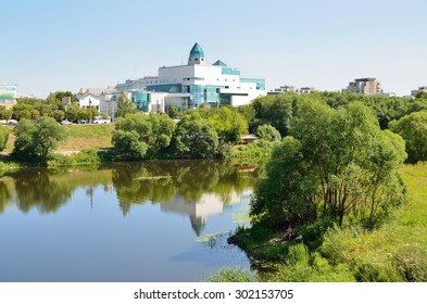 Tver, Russia, July, 27, 2014. Russian scene: nobody, Tymaka river, the shopping center Olympus on Tverskoy Boulevard