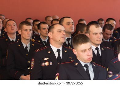 TVER, RUSSIA - MARCH 27, 2015: Employees of of internal troops in the audience during the celebration of the Day of internal troops in the house of culture Himvolokno
