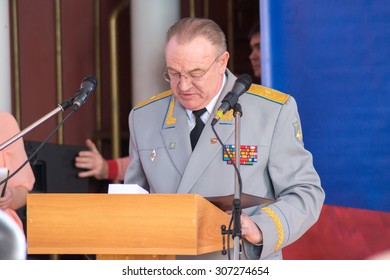 TVER, RUSSIA - MARCH 27, 2015: General-Major at the celebration of the Day of internal troops in the house of culture Himvolokno
