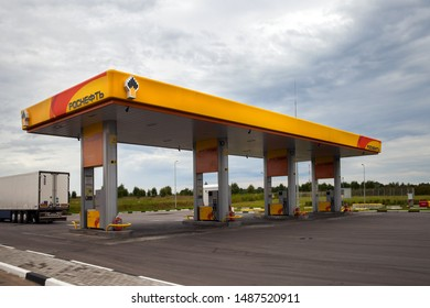 Tver's region, Russia - AUG 20,2109: The new Rosneft oil station on highway from Moscow to St. Petersburg
