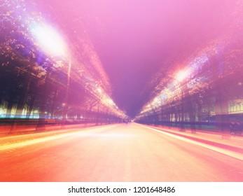 Tverskoy Boulevard at night city background