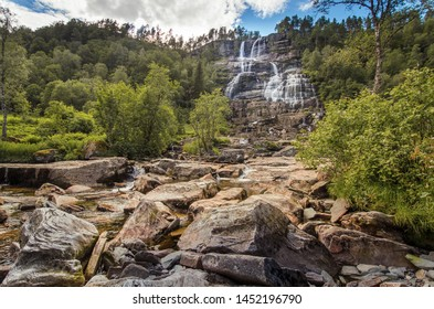 Tvindefossen waterfall near Voss , Norway