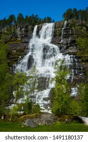 Tvindefossen waterfall near Voss, Norway