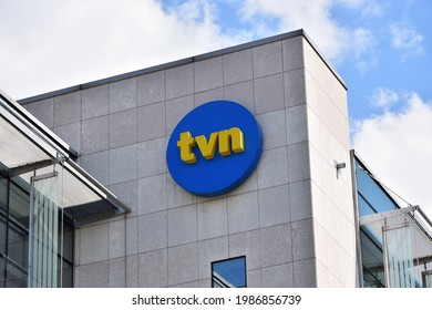 TVN Polish TV channel signage, symbol, emblem on the facade of the Polish TV station, owned by TVN Group. WARSAW, POLAND - JUNE 6, 2021